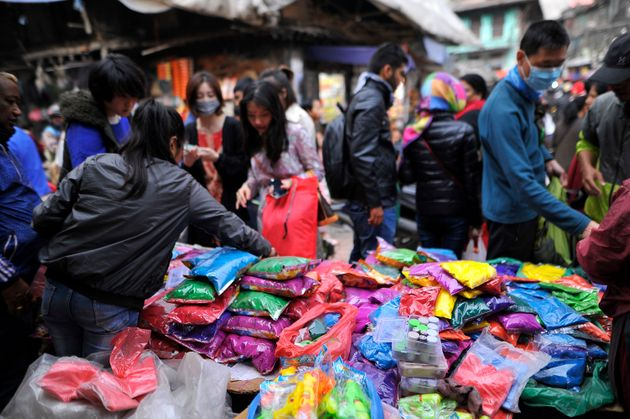 People stock up for Holi in Nepal's