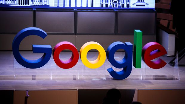 BERLIN, GERMANY - JANUARY 22: Letters show the name Google on the stage in the auditorium before the festive opening of the Berlin representation of Google Germany on January 22, 2019 in Berlin, Germany. The official opening will take place tonight with Berlin Mayor Michael Muller. (Photo by Carsten Koall/Getty Images)