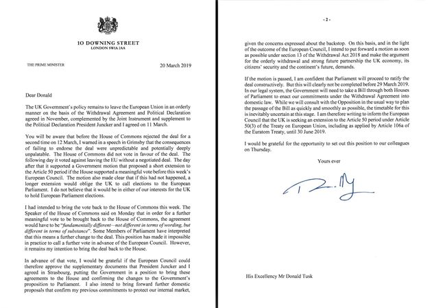 Theresa May's letter to the EU's Donald