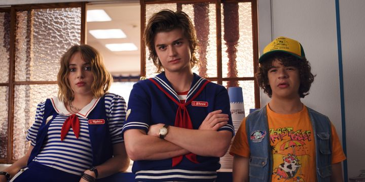 New cast member Maya Hawke with returning cast Joe Keery and Gaten Matarazzo.