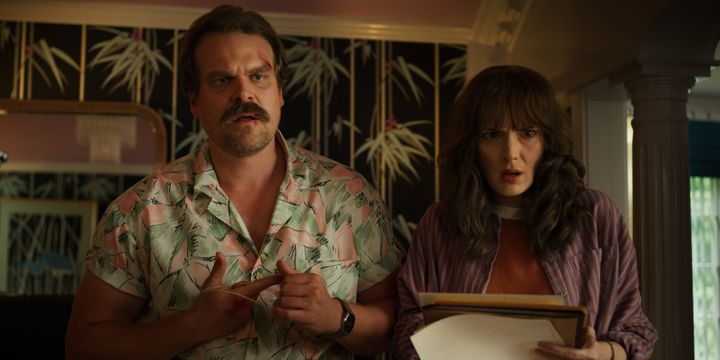 "Jim Hopper (David Harbour) and Joyce Byers (Winona Ryder) in ""Stranger Things."""