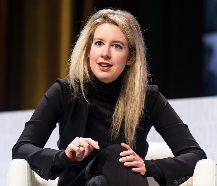 Elizabeth Holmes wears a black turtleneck while speaking at the Forbes 30 Under 30 Summit in Philadelphia on Oct. 5, 2015.