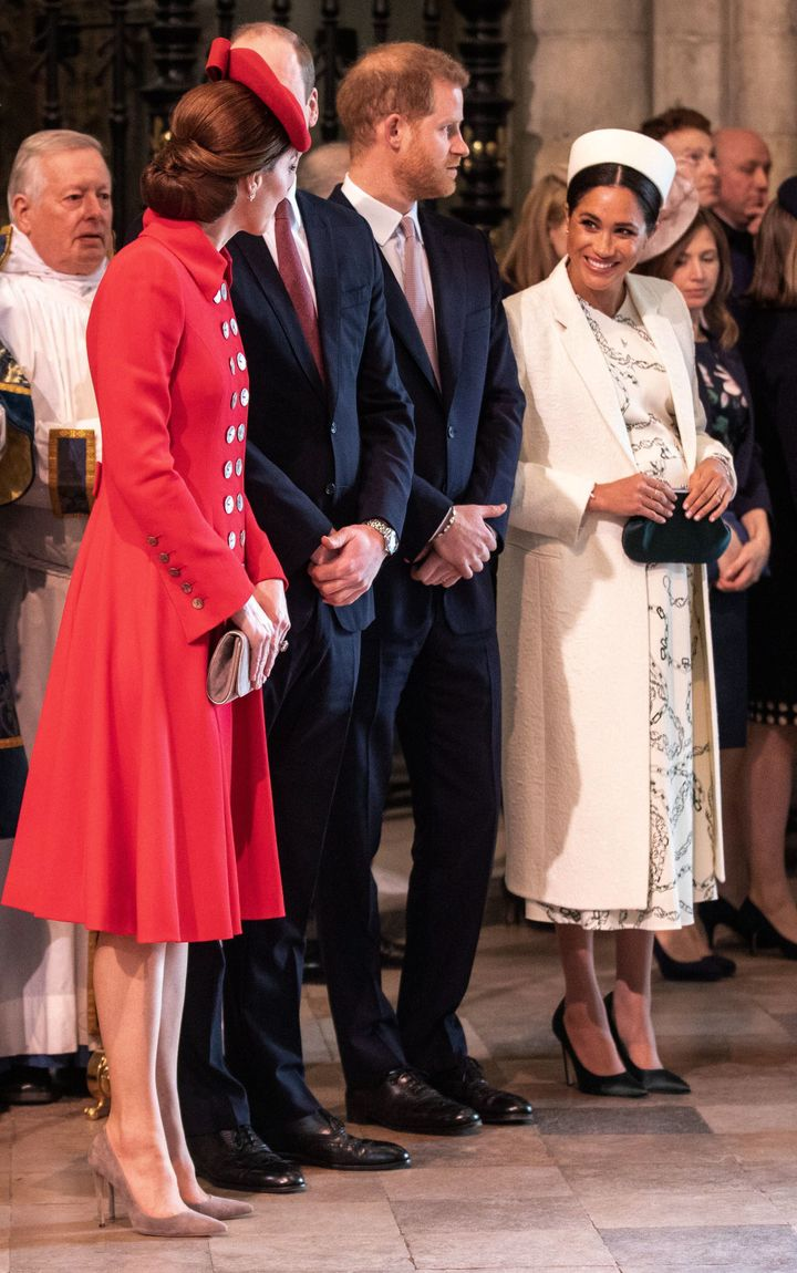 The duchesses chatting at the Commonwealth service.