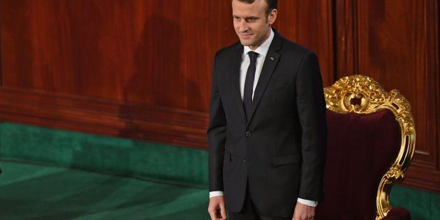 Le Président Emmanuel Macron devant le Parlement tunisien, à Tunis, le 1er février