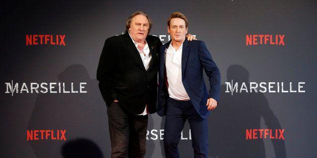 Gérard Depardieu et Benoît Magimel à Marseille le 4 mai