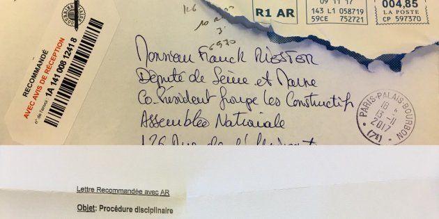 Il y a comme un problème avec lettre d'exclusion envoyée à Franck Riester par Les