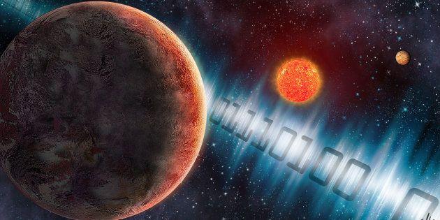 Une vue d'artiste de l'exoplanète GJ 273b, où le Meti a envoyé un signal radio composé de 0 et de