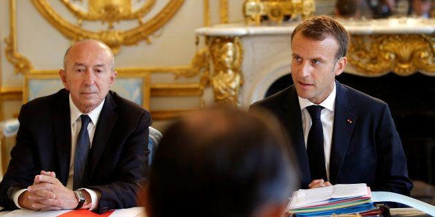 Emmanuel Macron et Gérard Collomb en réunion à l'Elysée au mois