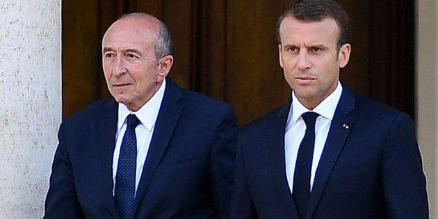 Gérard Collomb et Emmanuel Macron se rendent à une conférence de presse, au Vatican, au mois de juin