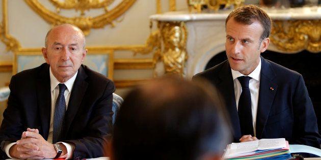 Le président Emmanuel Macron avec son ministre de l'Intérieur Gérard
