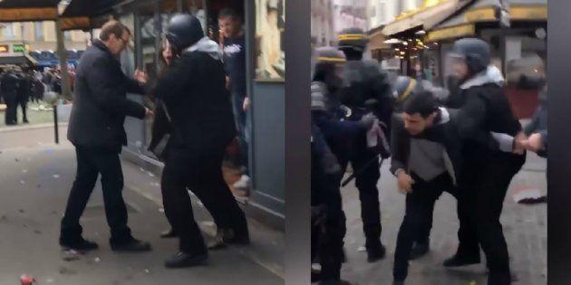 Extrait de la vidéo où Alexandre Benalla moleste le couple, après que ceux-ci ont lancé des projectiles...