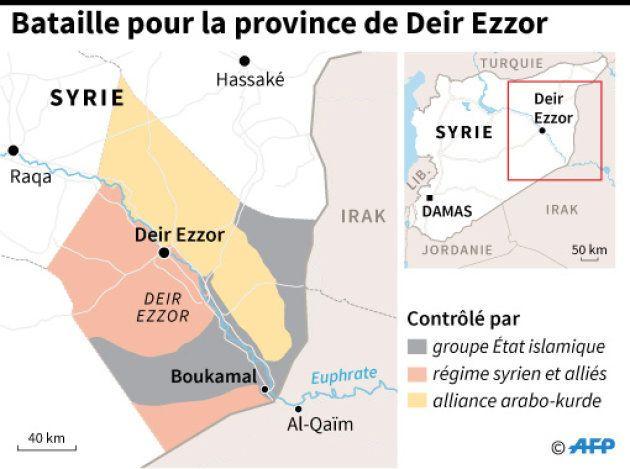 Carte de la province de Deir Ezzor en Syrie, et des territoires contrôlés par le groupe Etat islamique...
