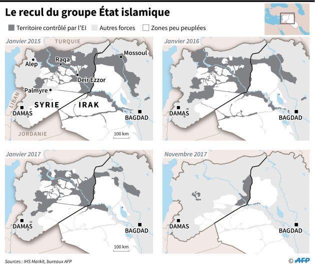 Evolution des zones contrôlées par le groupe jihadiste Etat islamique entre janvier 2015 et le 9 novembre...