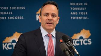 "Kentucky Governor Matt Bevin speaks in the Capitol building, in Frankfort, Ky, Thursday, Feb 28, 2019. At least six Kentucky school districts were forced to close Thursday, including the two largest systems in the state, as a wave of teachers called in sick to protest what one leader called ""half-truths"" and ""shadiness"" at the state legislature.(AP Photo/Bryan Woolston)"