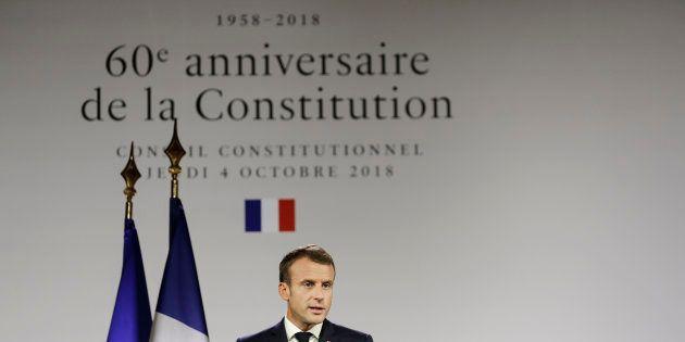 Emmanuel Macron lors de son discours pour le 60e anniversaire de la
