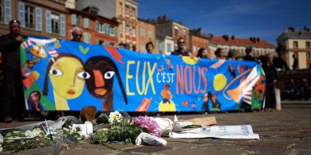 Rassemblement à Toulouse en hommage à Karim, un jeune réfugié qui s'est suicidé le 21 septembre dans...