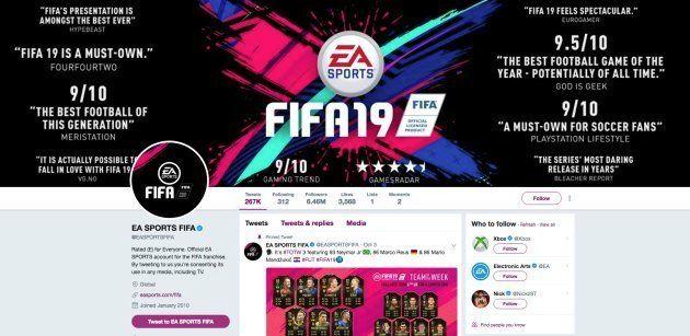 La page Twitter d'EA Sports, l'éditeur de FIFA