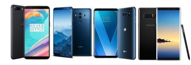 Oneplus 5T, Huawei mate 10 pro, LG V30 ou Samsung Galaxy Note 8: à l'usage, que valent les 4 nouveaux...