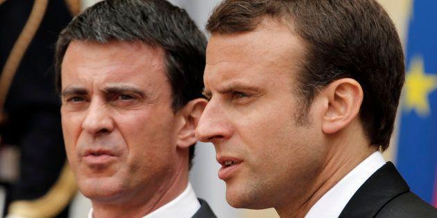 Manuel Valls et Emmanuel Macron à Paris le 13 mai