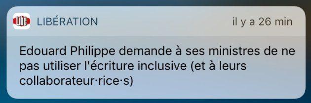 L'alerte de Libération au sujet de l'écriture inclusive.