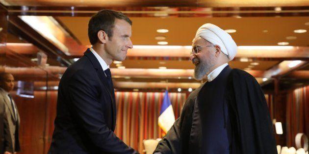 Emmanuel Macron et Hassan Rohani lors d'une rencontre à New York en