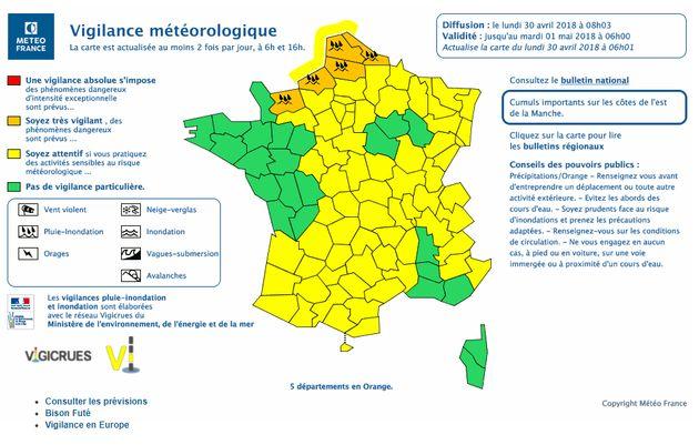 Orages et pluie: Météo France place 6 départements en vigilance