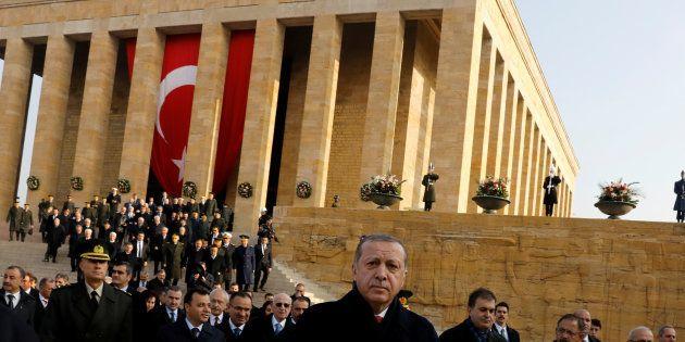 Le Président Tayyip Erdogan assiste à la cérémonie en l'honneur du 79ème anniversaire de la mort d'Atatürk,...