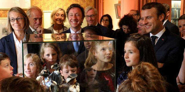 Le Président Emmanuel Macron, Stéphane Bern et la ministre de la Culture Françoise Nyssen lors d'une...