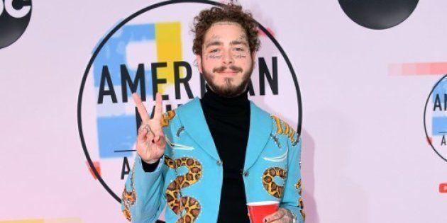 Le rappeur Post Malone sur le tapis rouge des American Music Awards, le 9 octobre 2018 à Los
