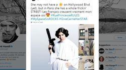 Quand Luke découvre l'hommage à Leia, rue Princesse à