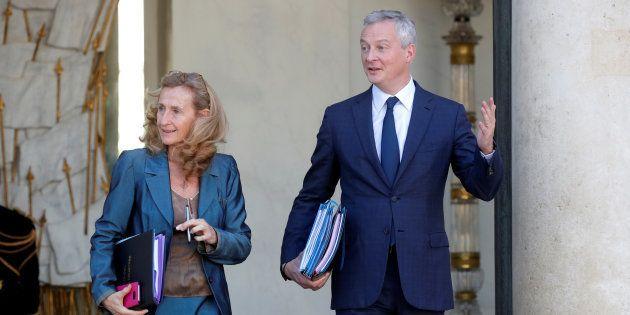 Bruno Le Maire et Nicole Belloubet quittant l'Elysée mercredi 10 octobre
