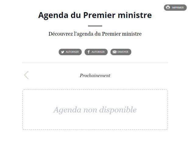 L'agenda, vide, du Premier