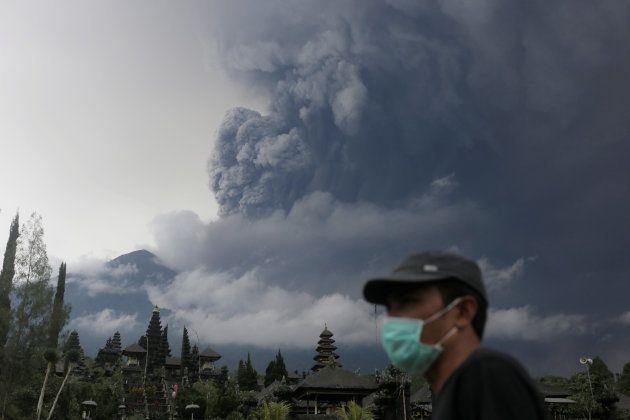 Mount Agung volcano erupts as seen from Besakih Temple in Karangasem, Bali, Indonesia on November 26,...