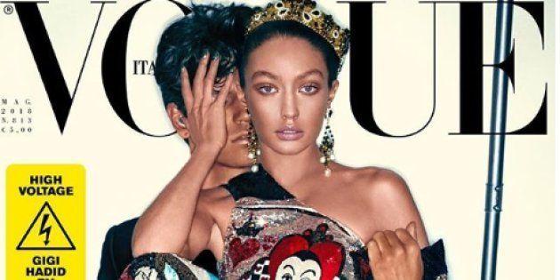 Gigi Hadid est apparue méconnaissable en une de Vogue Italie, avec la peau considérablement foncée, les cheveux noirs, et les traits modifiés.