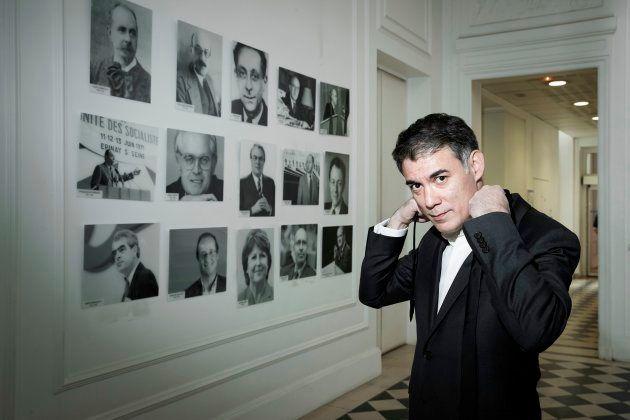 Olivier Faure au siège de Solférino à Paris le 5 avril