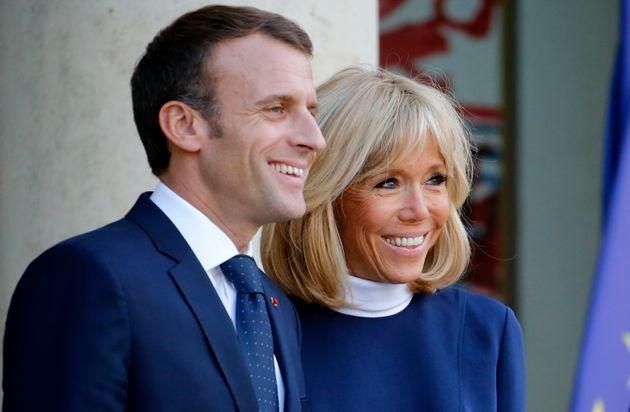 Emmanuel et Brigitte Macron à l'Elysée le 8 octobre