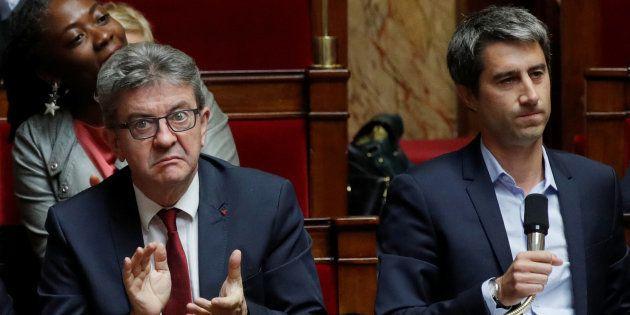 Jean-Luc Melenchon et François Ruffin à l'Assemblée nationale le 2