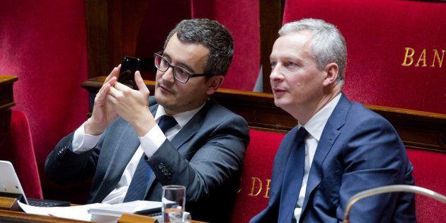 Les deux ministres Gérald Darmanin et Bruno Le Maire défendent un budget 2019 censé doper le pouvoir...