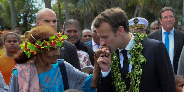 Le président Emmanuel Macron lors de son déplacement en