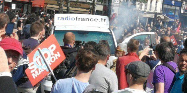 La voiture de Radio France n'était visiblement pas invitée à