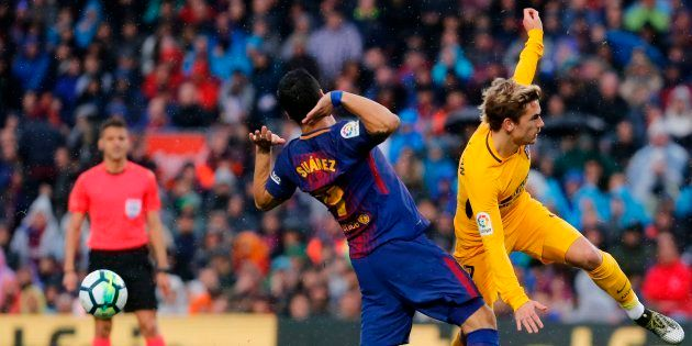 Antoine Griezmann et Luis Suarez lors de Barça-Atlético Madrid le 4 mars