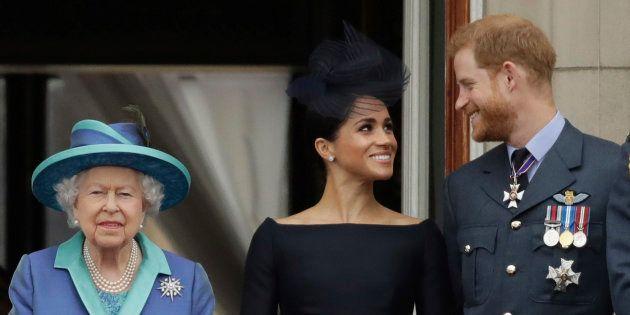 La reine Elizabeth II, Meghan la duchesse du Sussex et le Prince Harry à Buckingham Palace à London,...