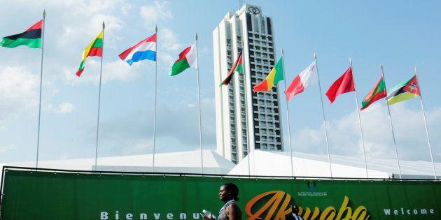 L'hôtel Sofitel Ivoire, où se tiendra le 5ème sommet EU-Afrique à Abidjan, Côte d'Ivoire, le 29 novembre