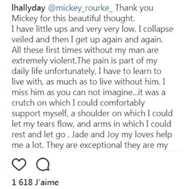 Laeticia Hallyday confie sa douleur sur Instagram :