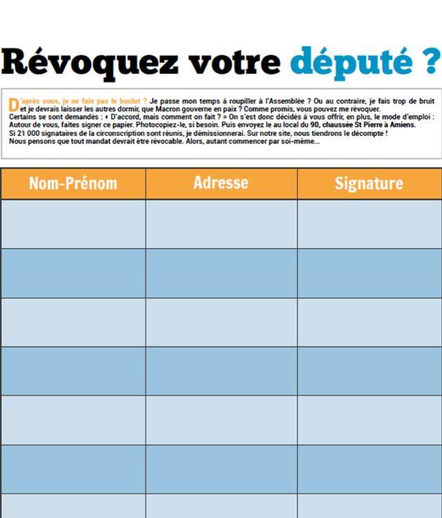 Ruffin a fourni à ses électeurs un formulaire permettant sa