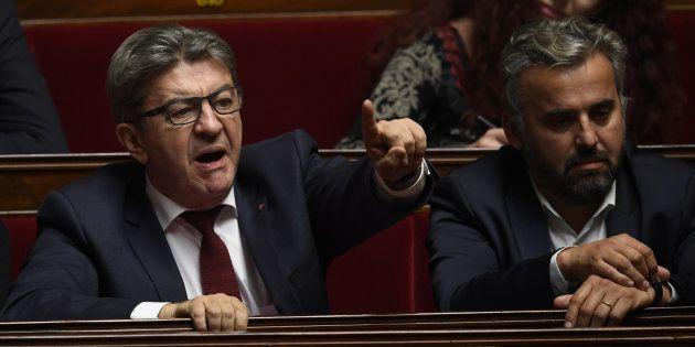 Jean-Luc Mélenchon, leader de la France insoumise, et Alexis Corbière à l'Assemblée nationale lors des...