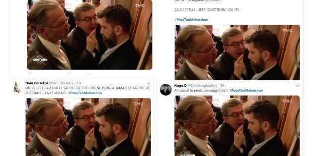 Les internautes ont tourné en dérision l'image de Jean-Luc Mélenchon criant sur un policier