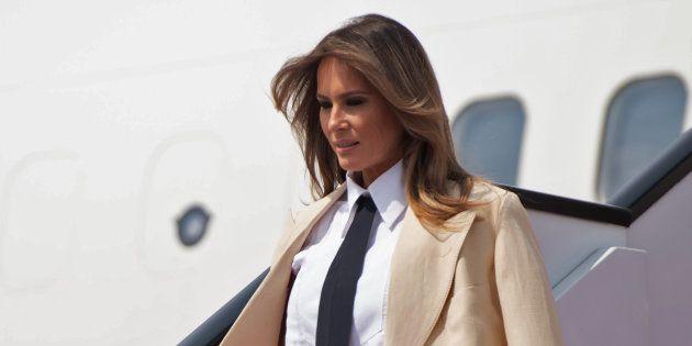 Melania Trump à l'aéroport international du Caire le 6 octobre