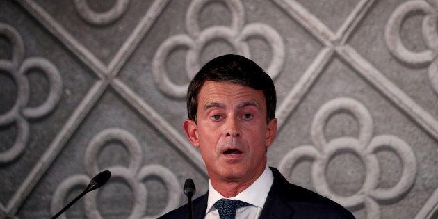 L'ancien premier ministre Manuel Valls, ici lors de sa déclaration de candidature à la mairie de Barcelone,...