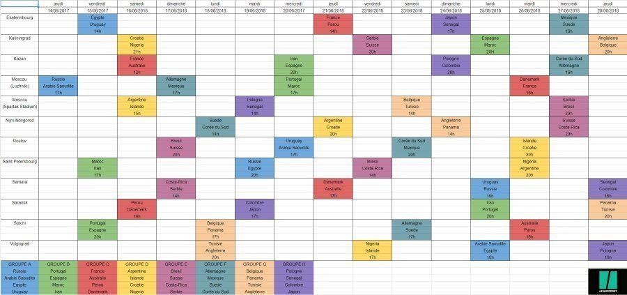 Calendrier Coupe du monde 2018: les dates et horaires des matches par
